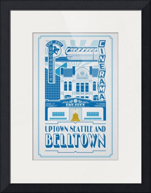 """""""Belltown"""" by Luis Infante, Seattle // Elevational depiction of one of Seattles coolest and weirdest neighborhoods. With a mix of traditional, mid century, worlds fair and any other kind of architectural style, this neighborhood is an eclectic but charming part of town."""