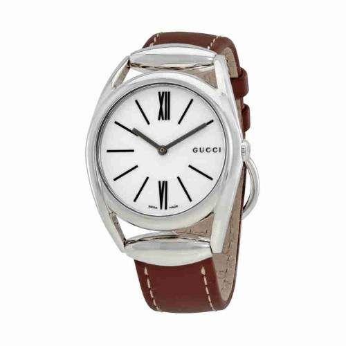 381f6a3c99e Gucci Women s YA140402 Brown Leather Swiss Quartz Fashion Watch ...