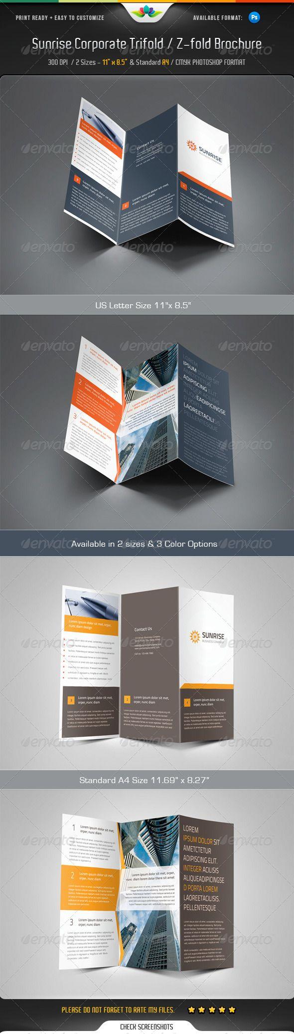 Sunrise Corporate Trifold Z Fold Brochure Brochure Design Template Brochure Template Indesign Brochure Templates