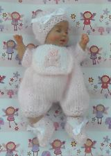 KNITTED ROMPER SET FOR A 5 INCH OOAK SCULPT BABY GIRL