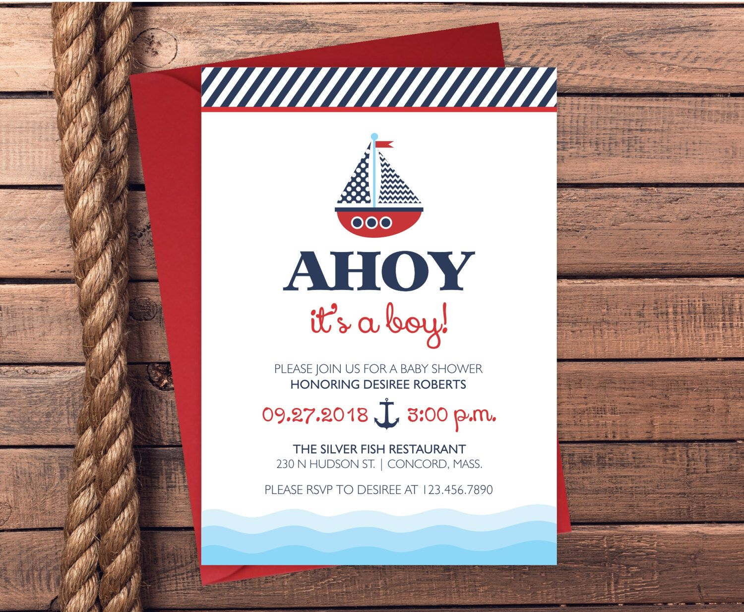 Baby Shower Invitations - Nautical Baby Shower Invitations - Printed ...