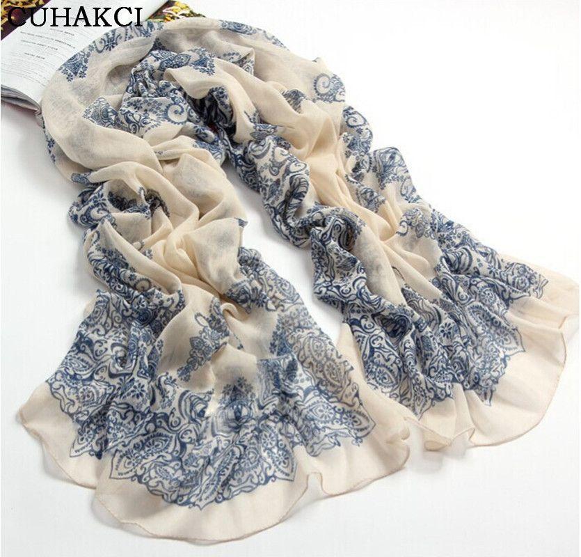 Chiffon Mulheres Cachecol Azul E Branco Slik Cachecol Feminino Designer Marca Lenços Das Senhoras 2017 Primavera Lenços Xale Foulard Femme Verão