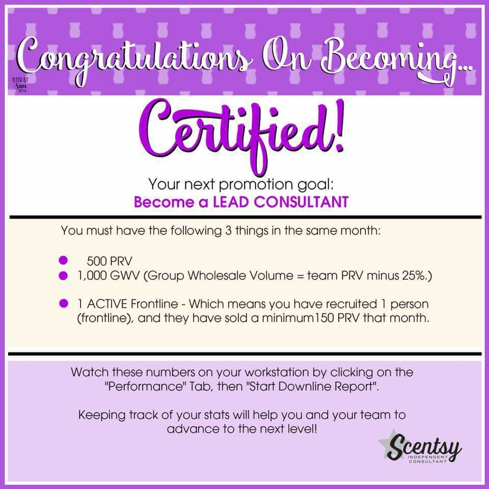To a Lead Consultant!!! Scentsy, Scentsy