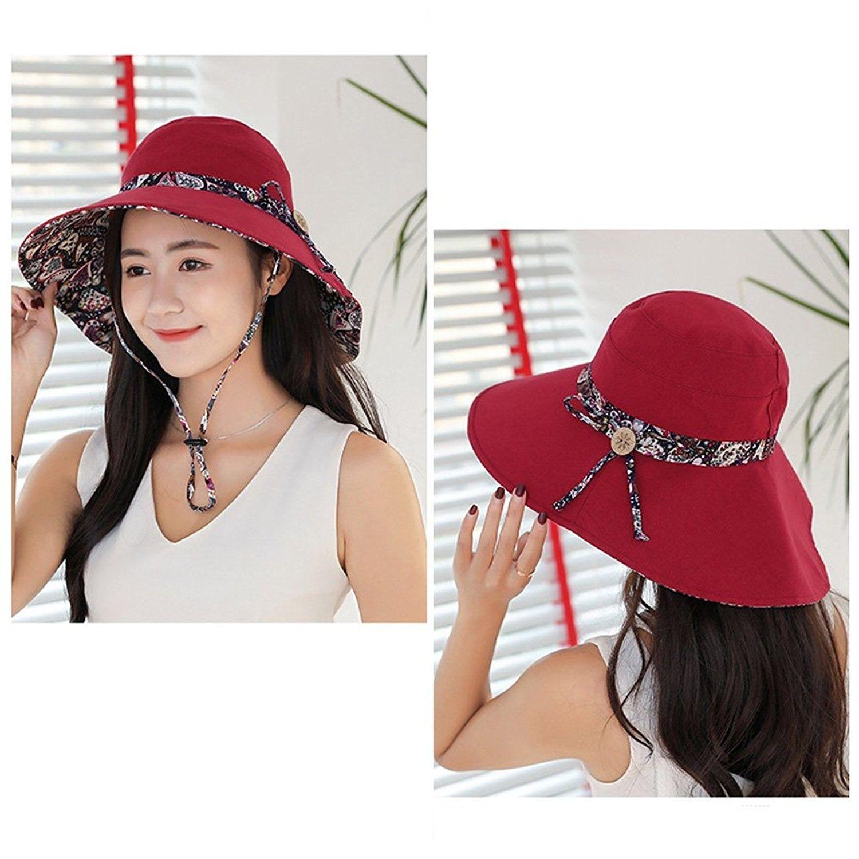 Womens Sun Hat Summer Reversible UPF 50+ Beach Hat Foldable Wide ... 822a2fbdf70