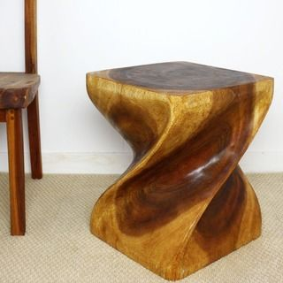 12 Inches Square X 20 Inch Wooden Hand Carved Walnut Oil Twist Stool Thailand Monkey Pod Wood End Tables Wood