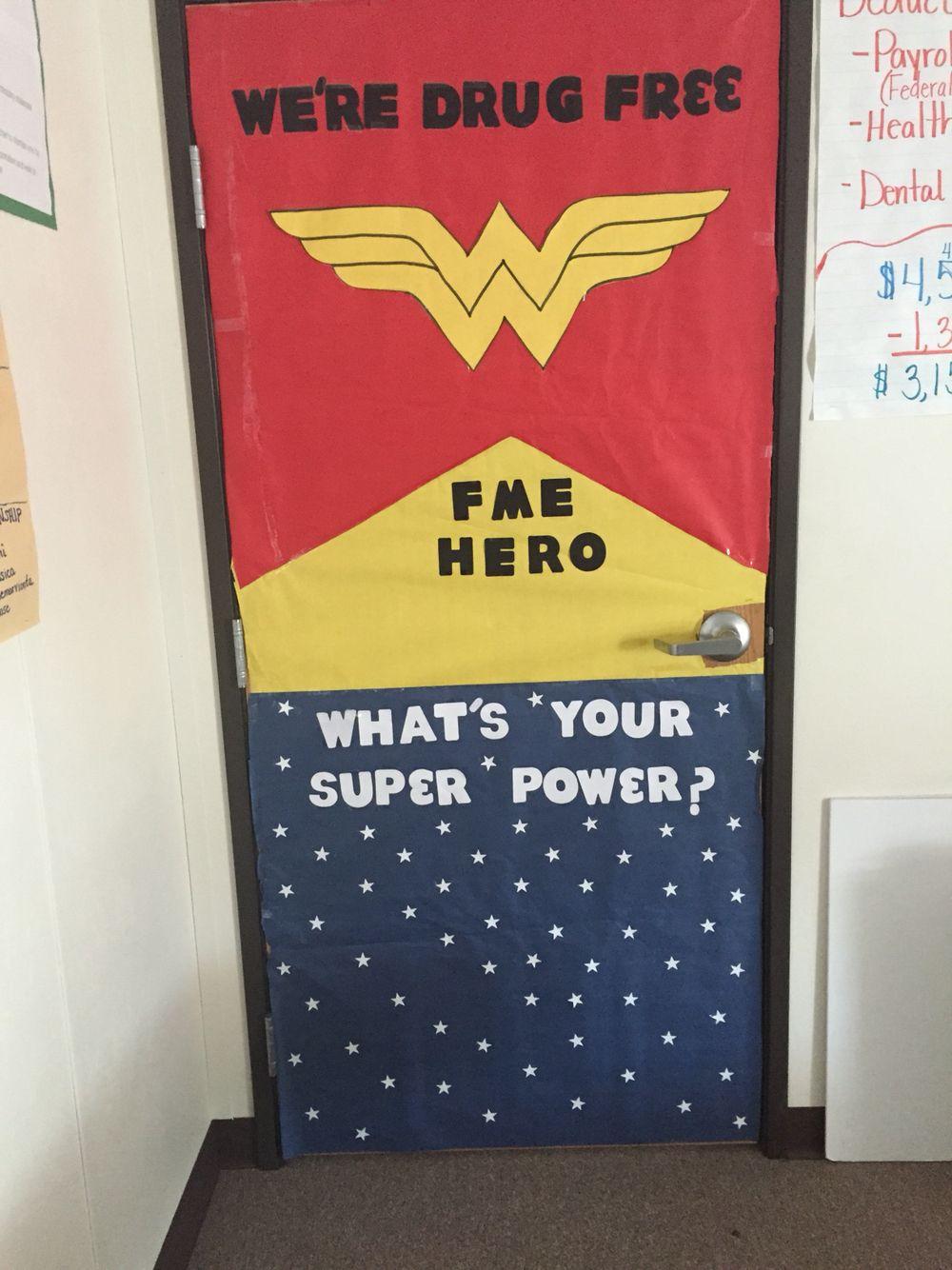 Free printable coloring pages red ribbon week - Red Ribbon Week Door Contest Wonder Woman Super Hero Drug Free