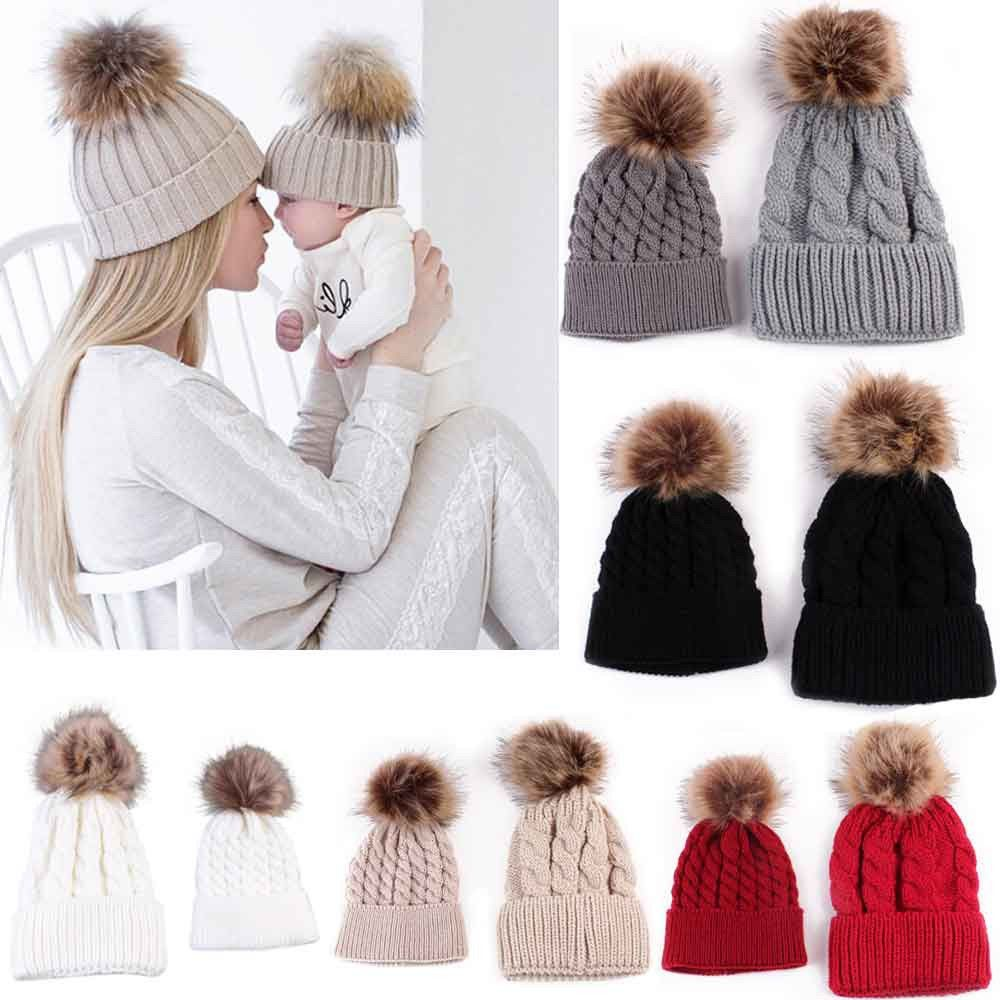 8a897a5a7b5 Mom And Baby Braided Crochet Wool Knit Beanie Beret Ski Ball Cap Women Baby  Hats