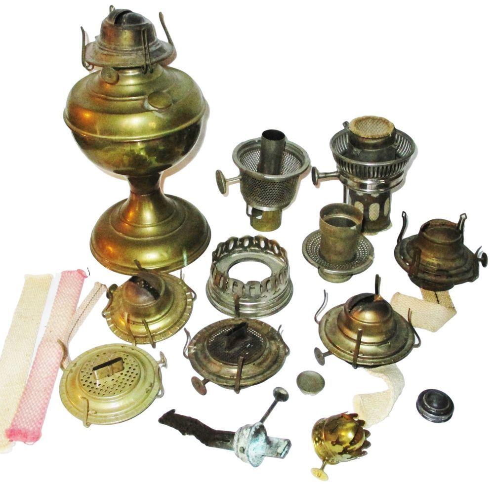 Vintage Lot Oil Lamp Parts Fonts Burners Caps Wicks Orion Aladdin Model 11 Oil Lamps Lamp Parts Lamp
