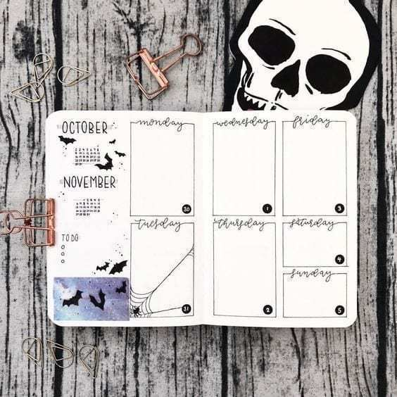 20+ Scary Halloween Bullet Journal Page Ideas #halloweenbulletjournal