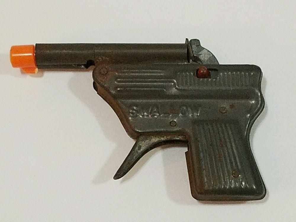 """Vintage SWALLOW Tin-Metal Cap Gun Toy Japan 1950's Rare 3-3/8"""" L x 2-1/2"""" W #Swallow"""