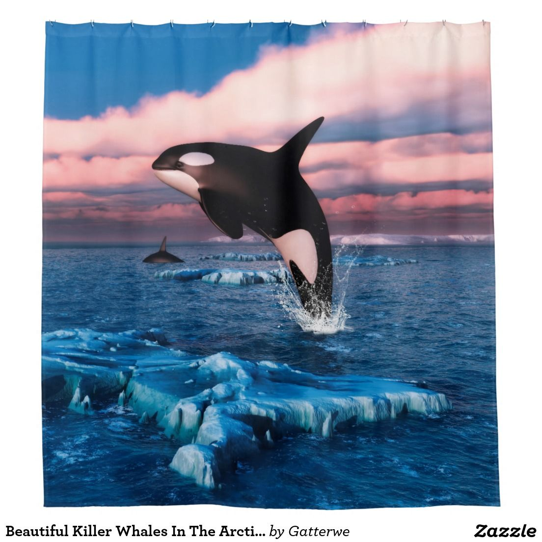 Beautiful Killer Whales In The Arctic Ocean Shower Curtain