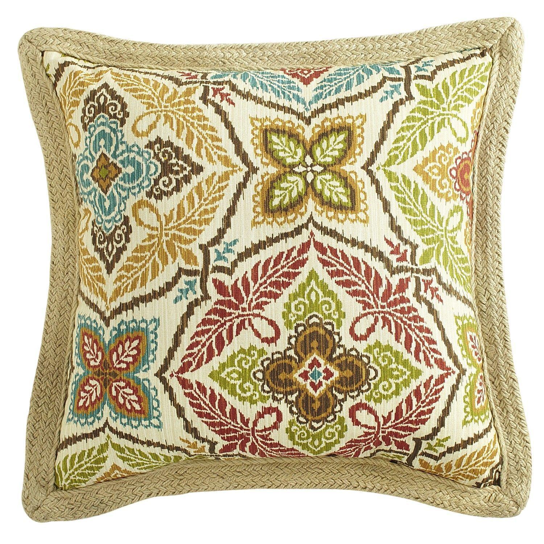 Kaleidoscope Jute Trim Pillow - Spice | Pier 17 Imports | pillow ...