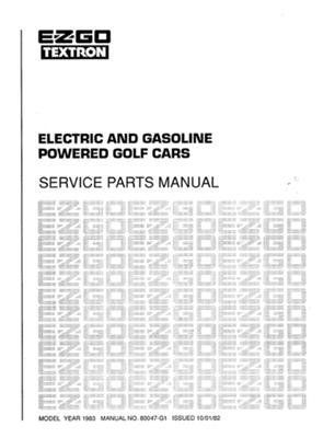 EZGO 80047G1 1983 Service Parts Manual for E-Z-GO Gasoline