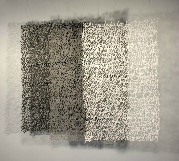 'Letter to My Father' (2005) by Colombian-born Dutch artist Miriam Londoño (b.1955). Three sheets of paper calligraphy, each 125 x 85 cm. via the artist's site