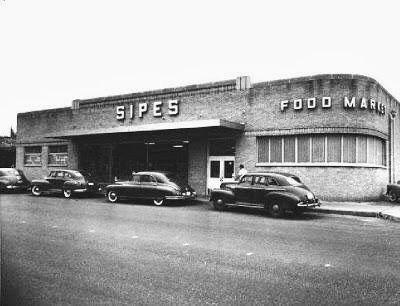 Sipes Food Market, 15th Street & Quaker, Tulsa, OK. The most rear car is a 1947 Chevy 4-door sedan.
