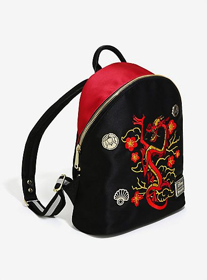 213555cc57 Loungefly Disney Mulan Mushu Satin Mini BackpackLoungefly Disney Mulan  Mushu Satin Mini Backpack