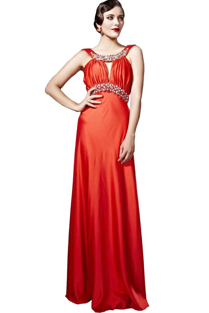 Beautyemily womenus bead on applique backfin halter prom gown size