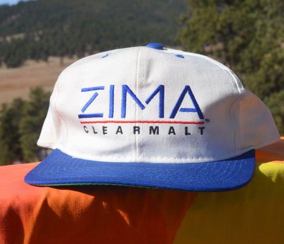 e0151329459ba8 vintage 90s baseball cap ZIMA clear malt beer two by skippyhaha ...