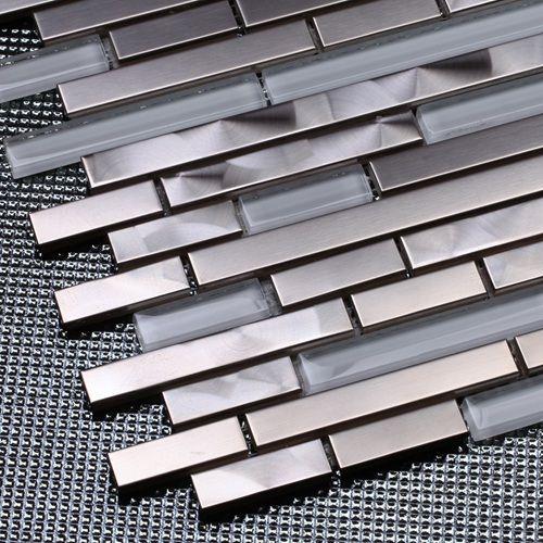 Wonderlijk Goedkope Zilver rvs gemengde wit glas strip mozaïektegels voor PM-26