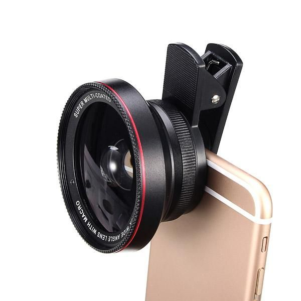 2-In-1 Lens Kit 0.6X Wide Angle +15X Macro Camera Lens With Universal Clip