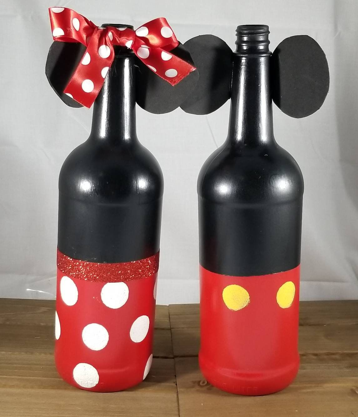 Excited To Share The Latest Addition To My Etsy Shop Mickey And Minnie Wine Bottles Great Centerpieces An Painted Wine Bottles Disney Home Decor Disney Decor