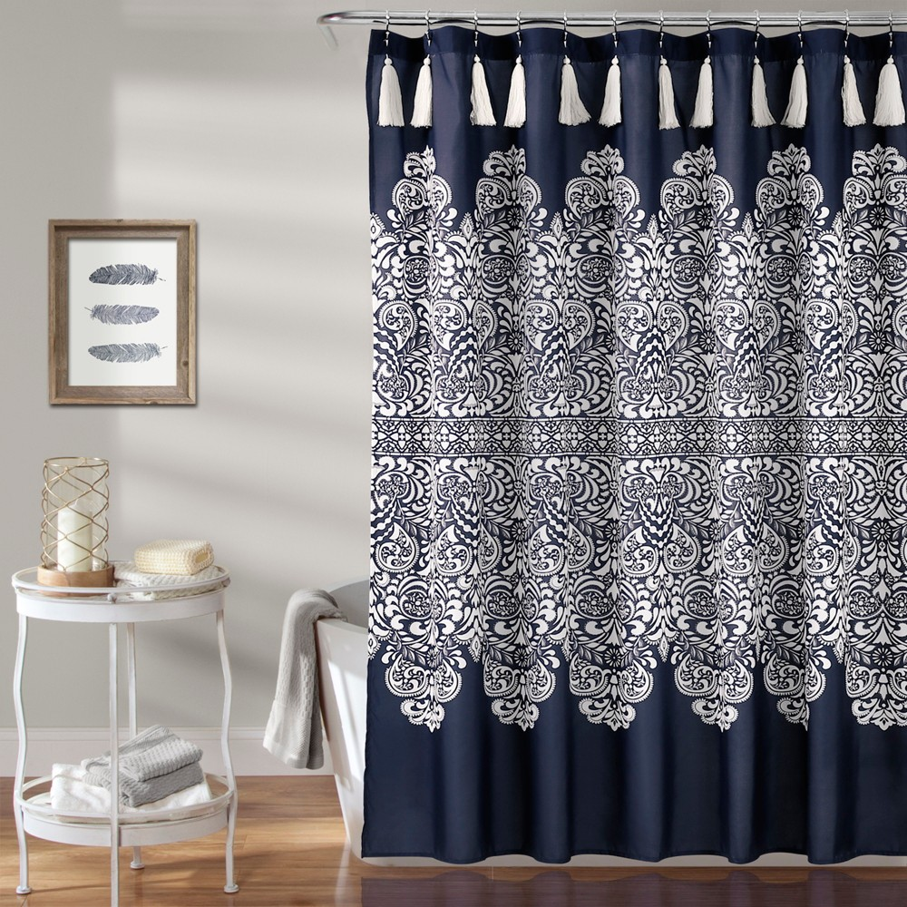 Boho Medallion Shower Curtain Navy Lush Decor In 2020 Shower
