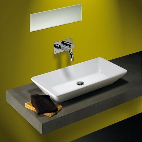 vasque à poser rectangulaire en céramique 'sign' sanindusa | sdb ... - Vasque Rectangulaire Salle De Bain