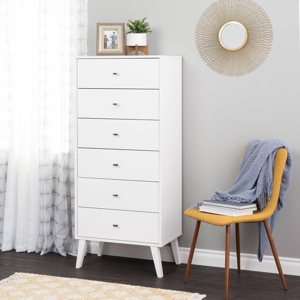 6 Drawer Milo Mid Century Modern Tall Chest White Prepac Prepac Furniture 6 Drawer Chest [ 1000 x 1000 Pixel ]