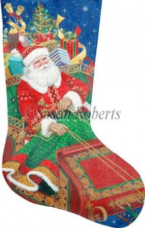 World-class Needlepoint - Santau0027s on His Way Needlepoint Stocking Canvas Hand Painted Canvases  sc 1 st  Pinterest : tapestry tent needlepoint christmas stockings - memphite.com