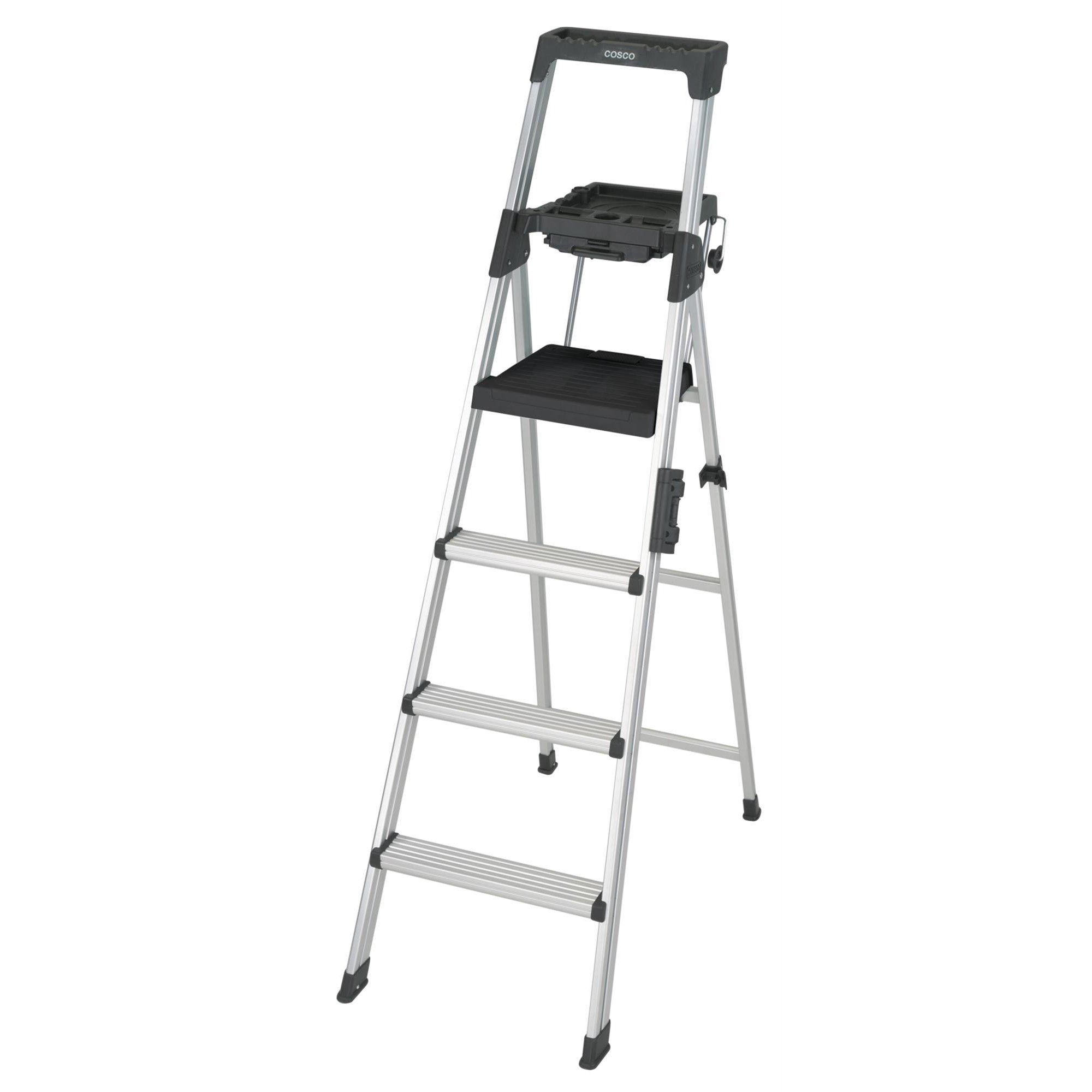 Cosco 6 Ft Signature Series Aluminum Folding Step Ladder With Leg Lock Handle 300 Lb Type Ia Duty Rating Walmart Com In 2020 Step Ladders Pool Ladder Cosco