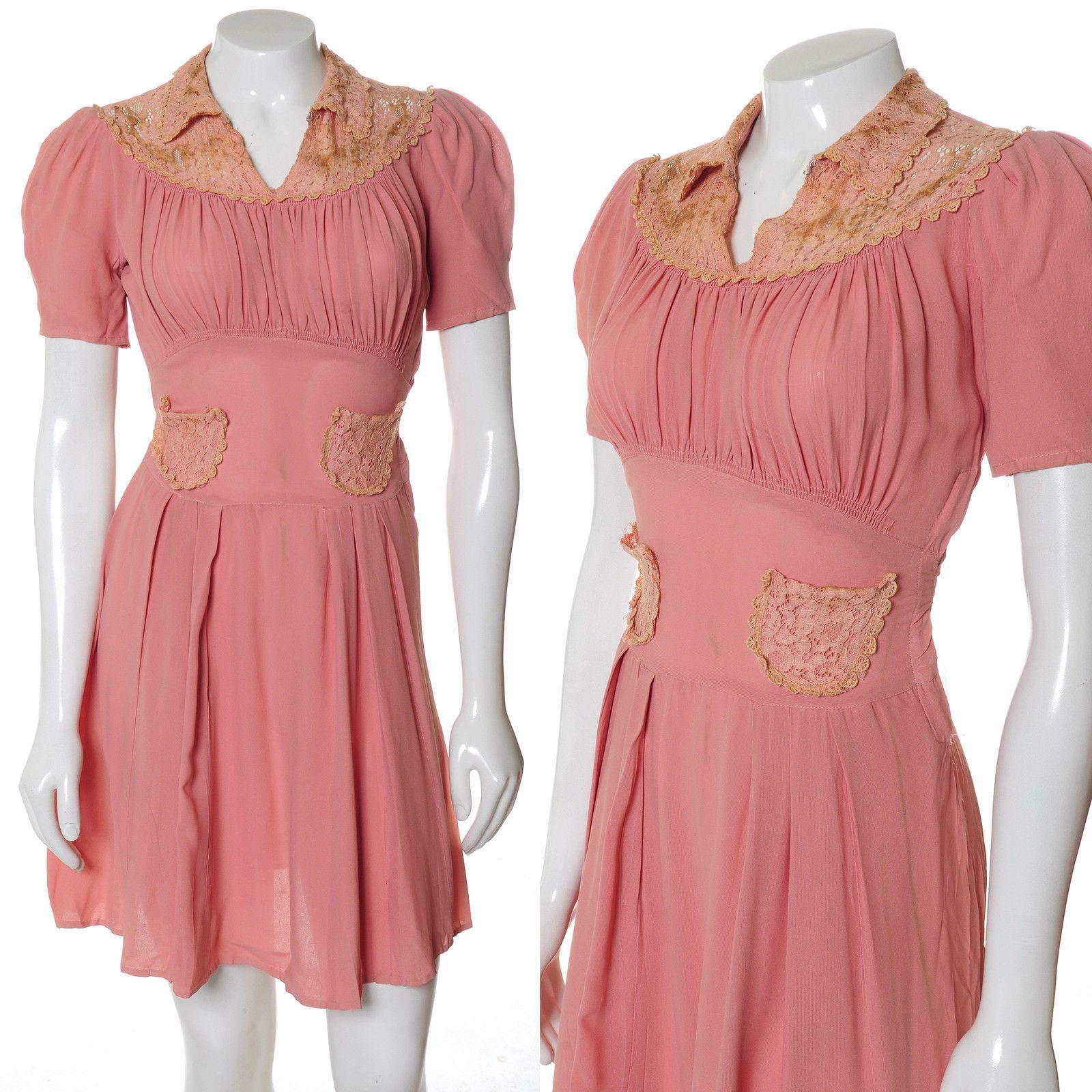 Imperfect crepe pink lace vintge s s babydoll mini swing dress