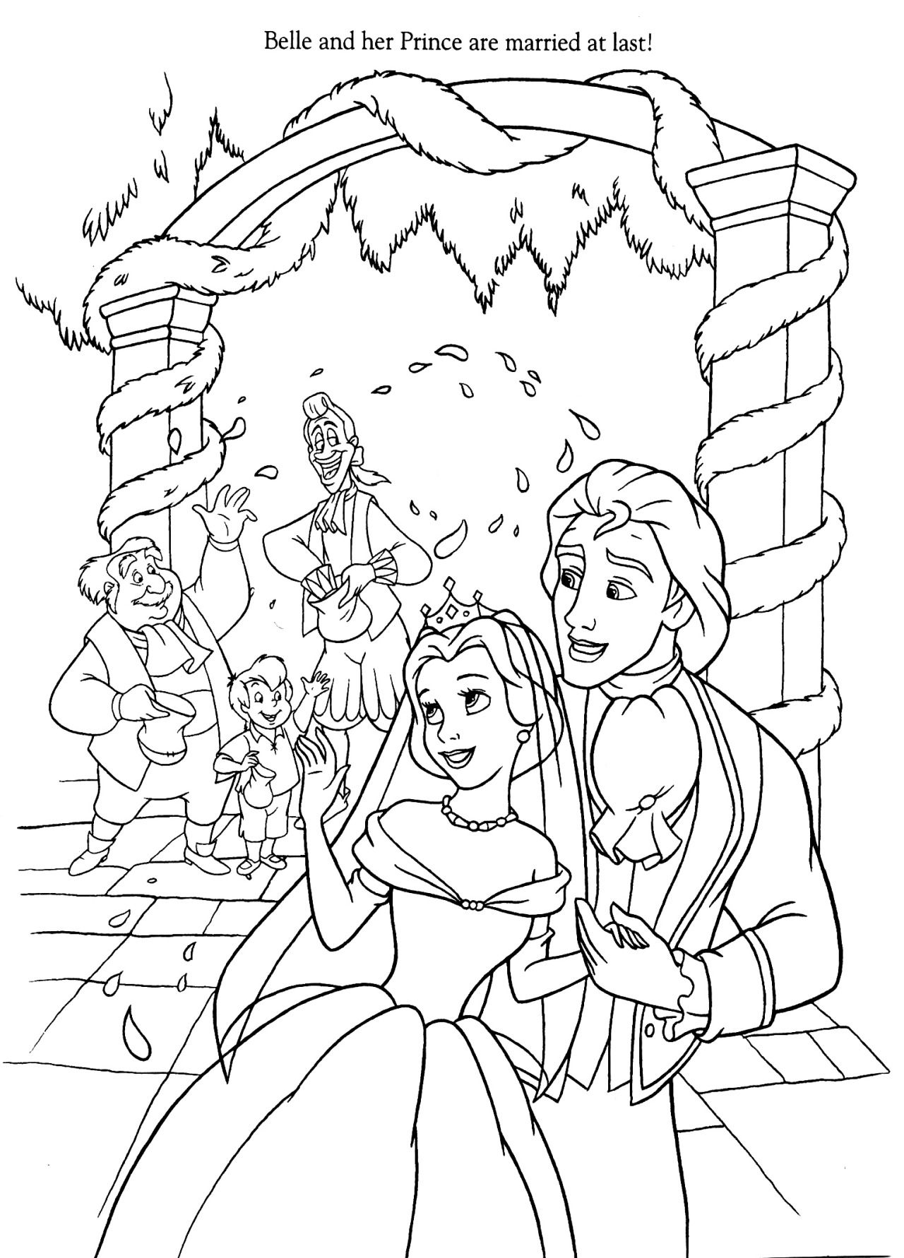 Belle And The Prince Married Disney Coloring Pages Wedding