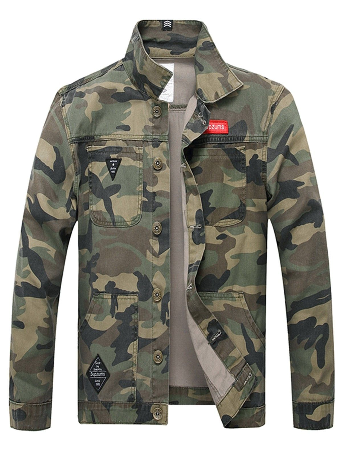 Applique Button Up Camouflage Jacket Army Green 3q87276815 Size M Camouflage Jacket Camo Denim Jacket Camouflage Print Jacket [ 1596 x 1200 Pixel ]