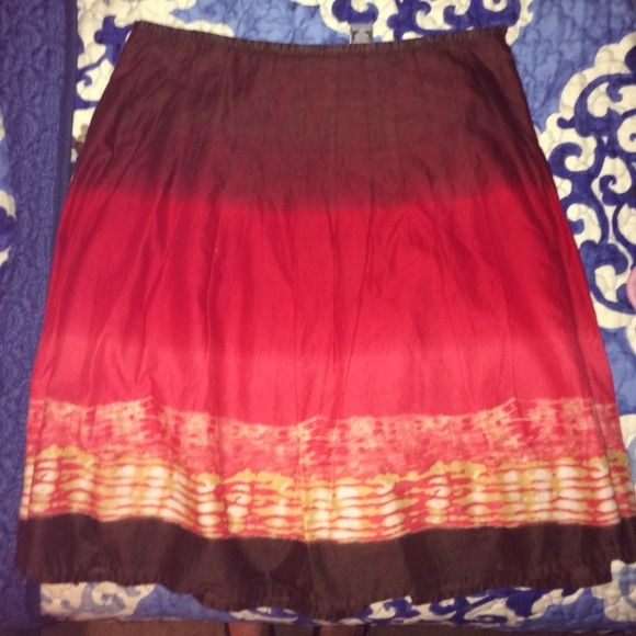 Hillard & Hanson Skirt Brown and red tie dyed skirt. Hillard & Hanson Skirts