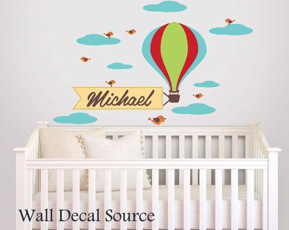 Monogram Wall Decal Hot Air Balloon Decal Boys Wall Decal - Monogram wall decal for nursery