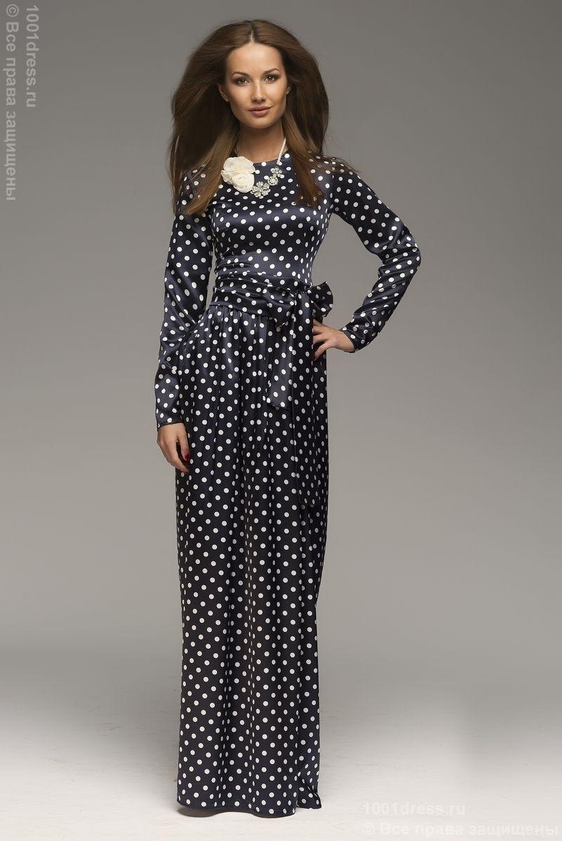 Синее платье в белый горошек с длинными рукавами купить в интернет-магазине 1001DRESS
