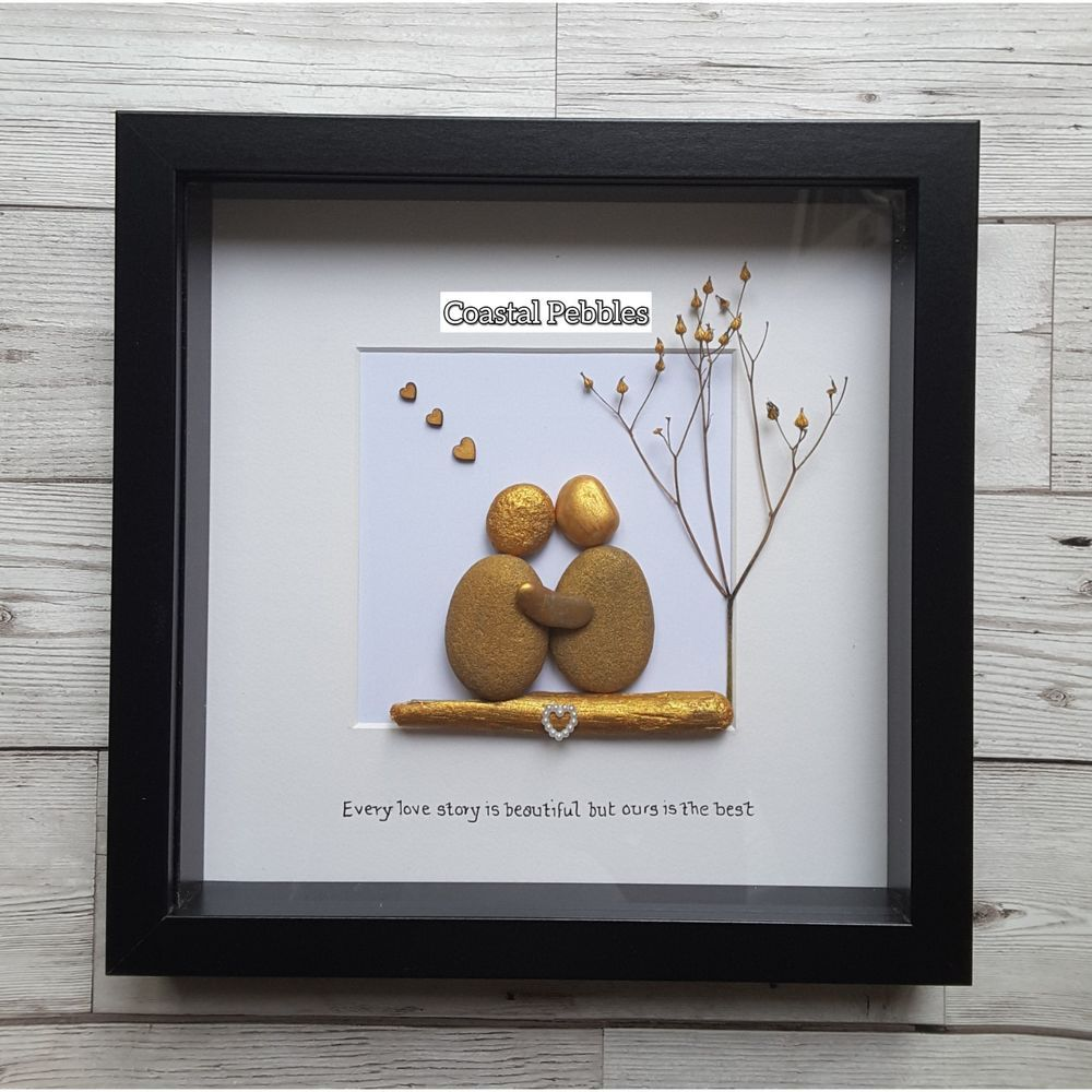 Pebble Art Picture Frame 50th Golden Wedding Anniversary Gift Gold