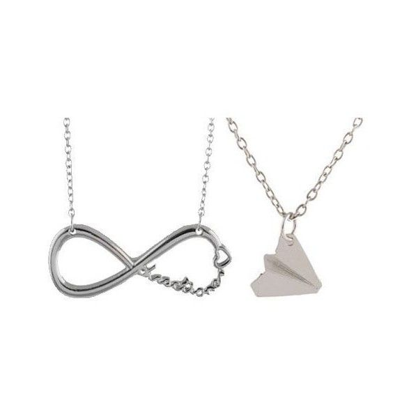 One Direction Twin Pack. Harry Paper Plane and Infinity Necklace... ($3.50) ❤ liked on Polyvore featuring jewelry, necklaces, paper necklace, chain necklaces, infinity necklace, paper jewelry and chains jewelry