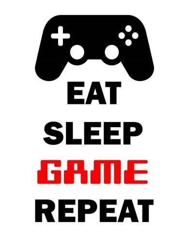 Eat Sleep Game Repeat White Art Print Color Me Happy Art Com In 2020 Gaming Wall Art Eat Sleep Red Art Print