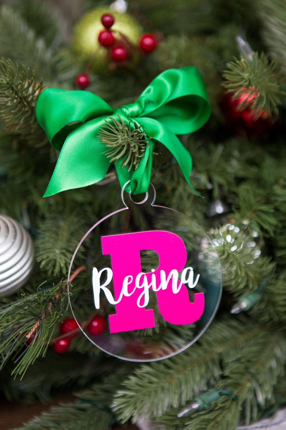 Christmas Ornament Personalized Name and Letter Clear