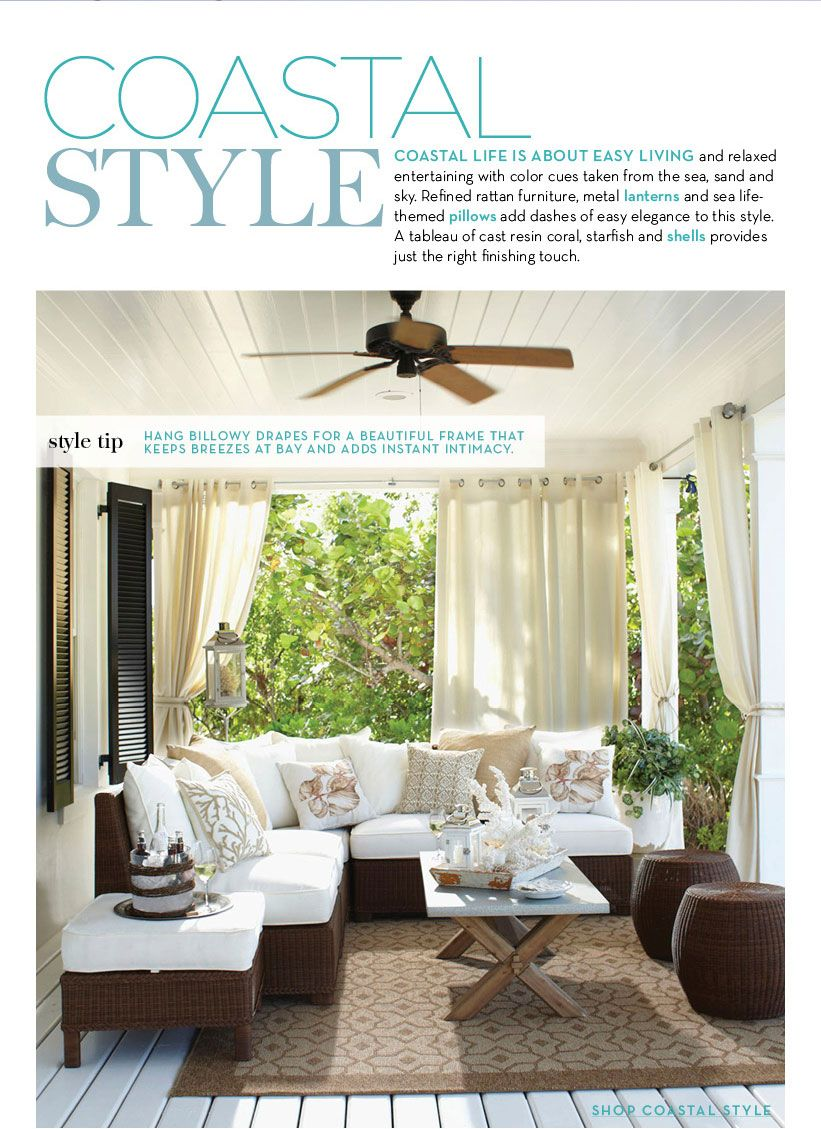 Coastal Style Outdoor Living from @Pottery Barn summer | white couch ...