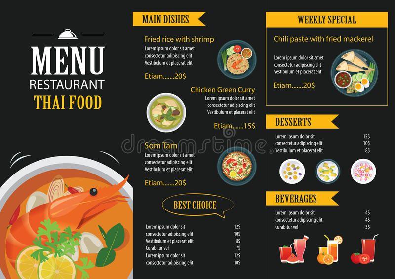 Download Thai Food Restaurant Menu Template Flat Design Stock Vector Illustration Of Booklet Backgroun Menu Restaurant Food Menu Design Thai Food Restaurant