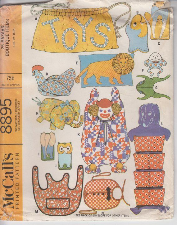 Sewing Pattern For Bazaar Items Stuffed Toys Shoe Bag Laundry Full