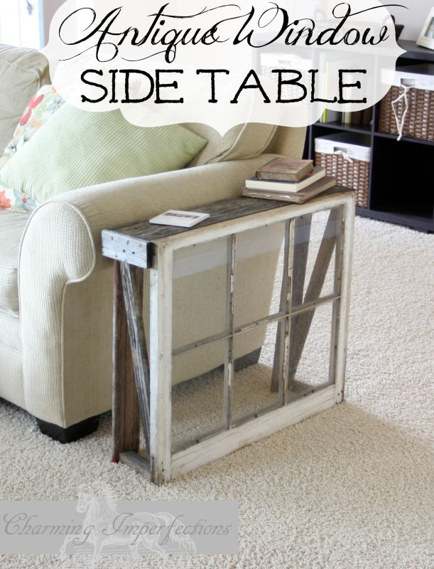 antique window ideas pinterest build narrow side table with an antique window and couple of weathered old boards click on for full tutorial