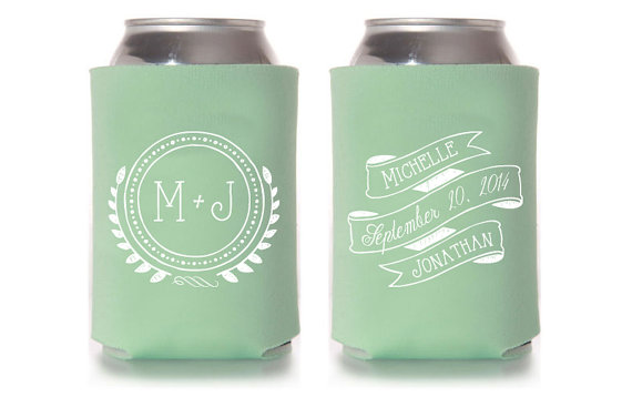 Custom Wedding Koozie Vintage Monogram By Splendidsips On Etsy