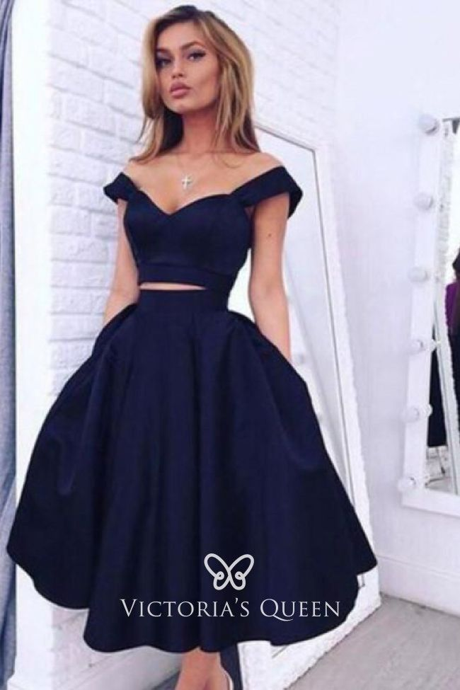 Photo of navy blue off the shoulder two piece cocktail dress