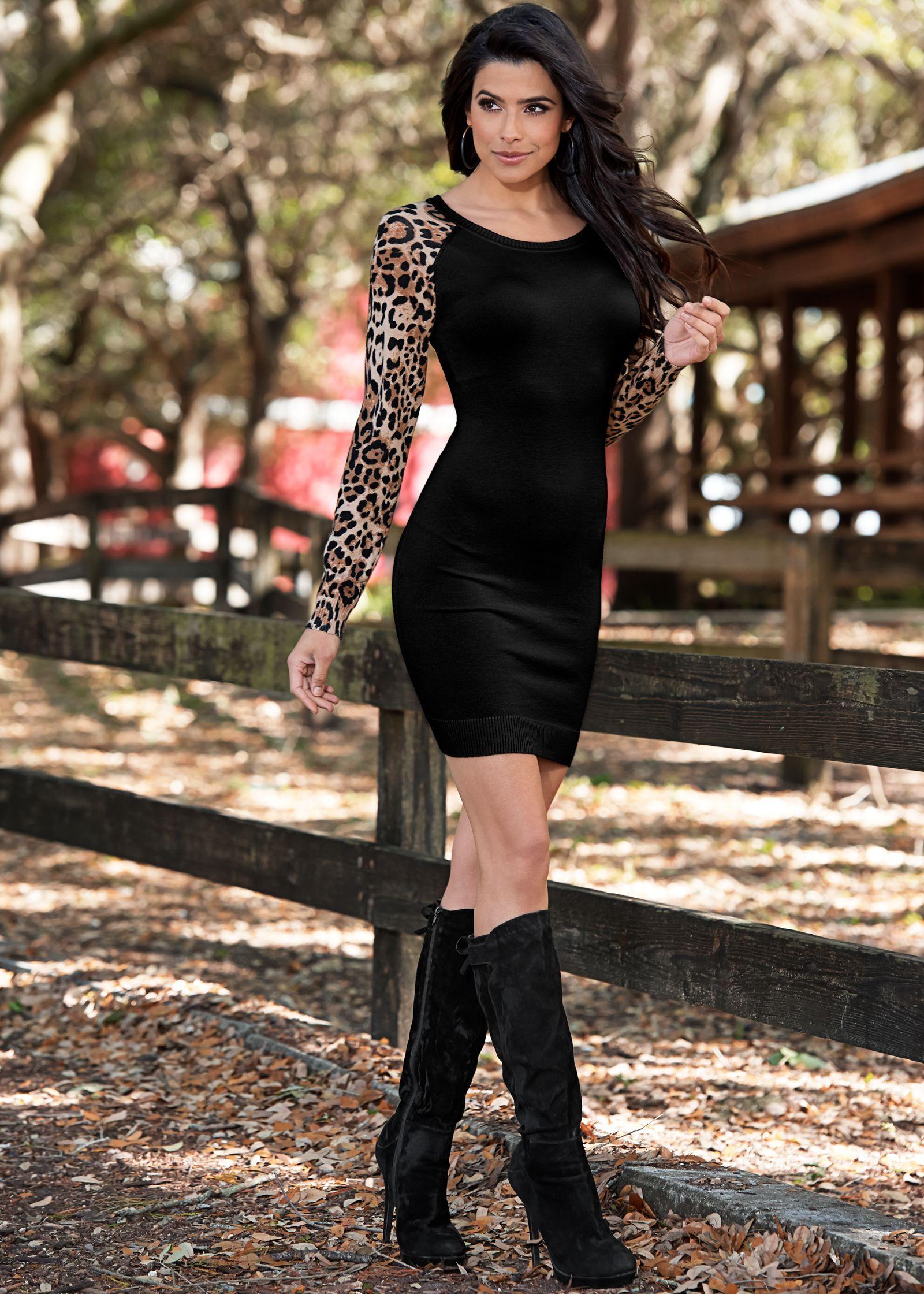 Long-sleeved black mini dress with leopard print sleeves and black ...