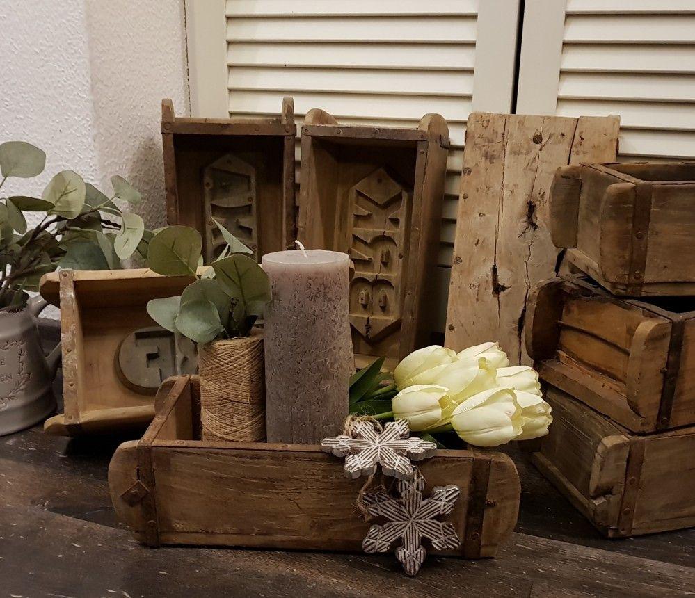 Chic Antique Ziegelform Backsteinform Holz Deko Unikat Shabby Landhaus