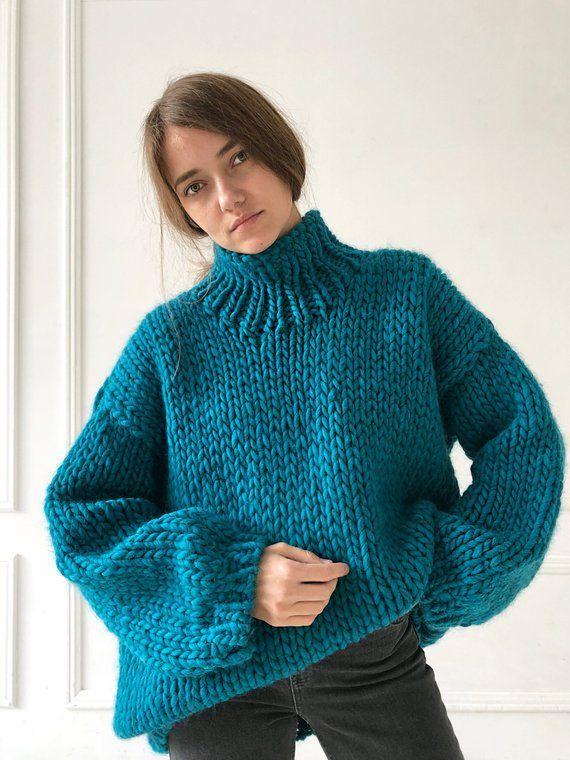 Teal turtleneck sweater loose knit Long knitted sweater Oversized hand knit  jumper Womens knitwear C 5cbd40ffd