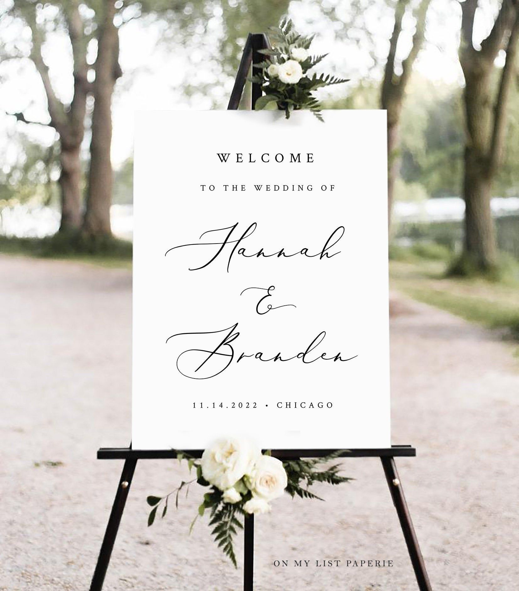 Welcome Sign Wedding, Black and white Wedding Welcome Sign, INSTANT DOWNLOAD, 100% Editable Text, 18x24 & 24x36 A1 A2 #86